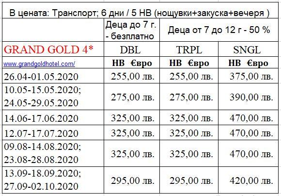 Цени Гранд Голд Собствен организирани групи 5 НВ